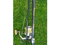 carp fishing marker rod and big pit reel