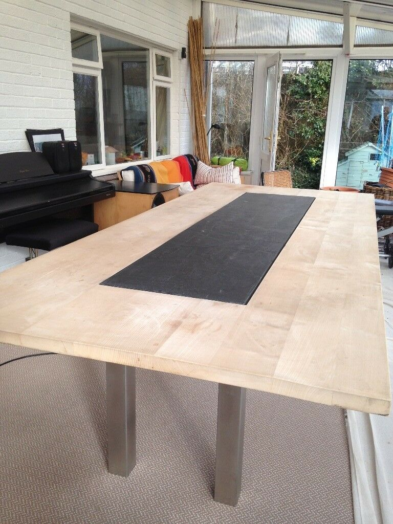 Large Wooden Dining Table With Slate Inlay M X M In Carmarthen - Dining table with slate inlay