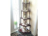 Dark wood five tier corner stand. Very good condition.