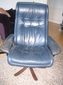 Ekorness Stressless Recliner blue leather armchair / office chair: Non-standard/ modified