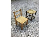 Childs stool and chair with raffia seat.