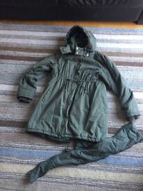 Jo Jo Maman Bebe Maternity Coat – Khaki Green, Size 14