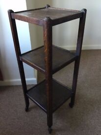 VINTAGE PLANT STAND DISPLAY STAND 3 TIER WOODEN ON WHEELS