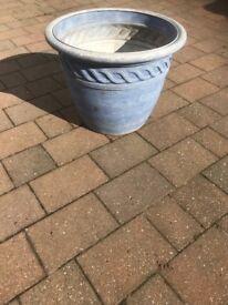 3 large blue plastic garden pots - used