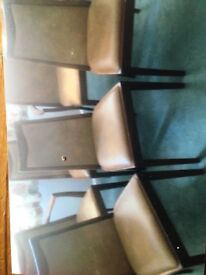 Teak and leather chairs