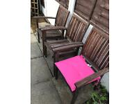 Teak wood garden chairs outdoor x3 stack non fold