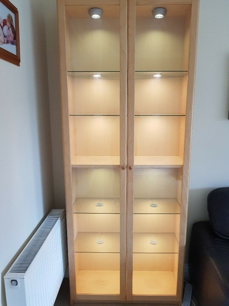 Beech Ikea Billy Display Cabinet With Gl Doors Shelves And Lights
