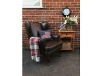 Leather LAURA ASHLEY Wingback Armchair Chair Brown Library Fireside