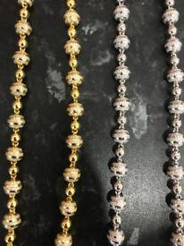 Silver and gold plated silver chains