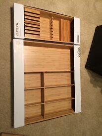 Ikea Oak Cutlery Tray and Knife Rack