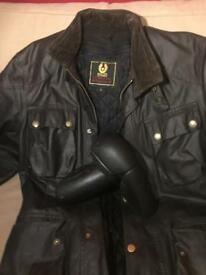 Belstaff jacket size large, zip in lining, removable armour