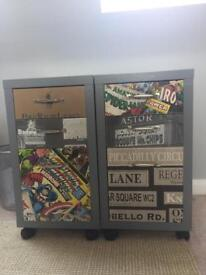 2no bespoke up-cycled 3 drawer units with graphic designs