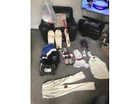 Cricket equipment with GM 707 wheelie bag