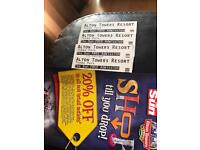 4 Alton towers tickets 19-7-17