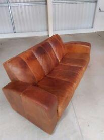 Three Seater Tan Leather Sofa