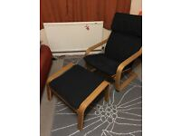 Poang Chair and Footstool . In oak frame. Pet and smoke free. Machine washable cover.