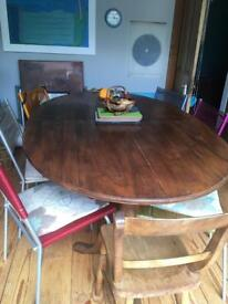 Fabulous vintage dining table, beautiful brass fender and mirror for above fire/ sideboard.
