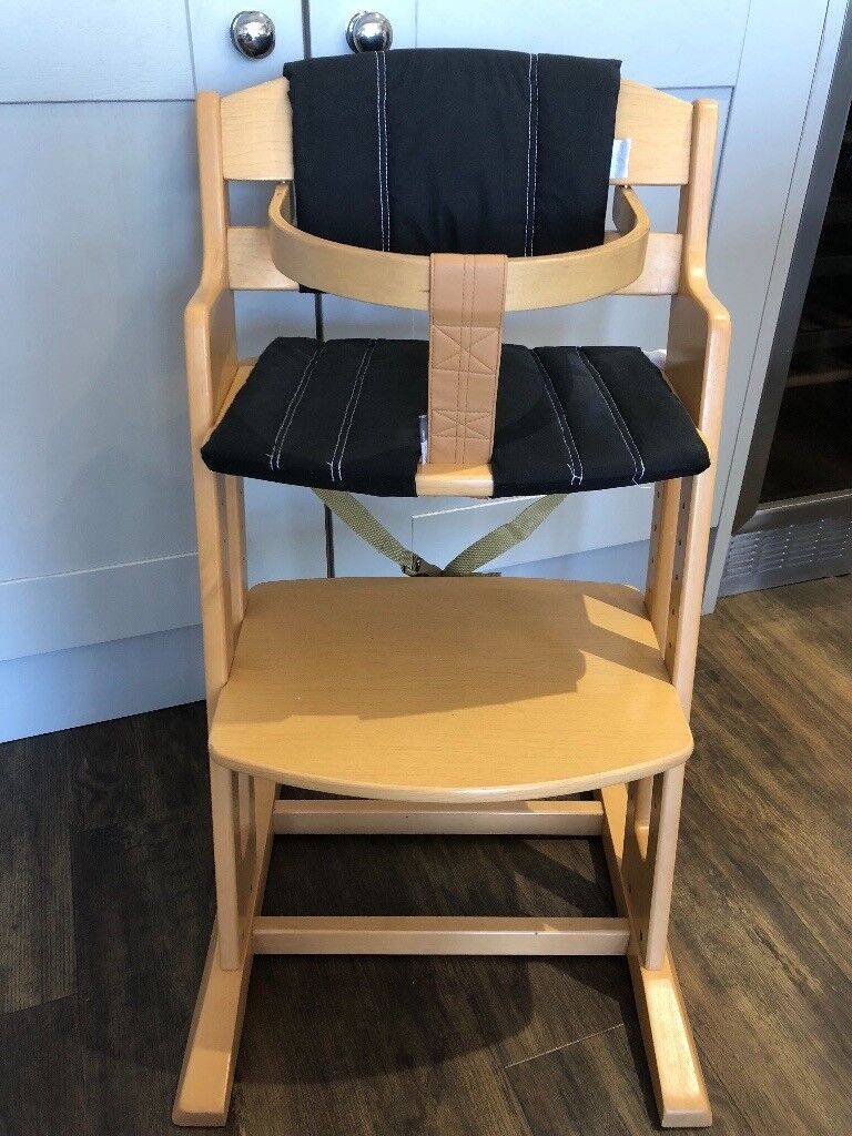 Babydan Wooden High Chair Adjustable Height Removable