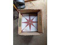 Ceramic floor tiles -Red star pattern