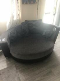 4seater sofa and extra large cuddle chair with speakers