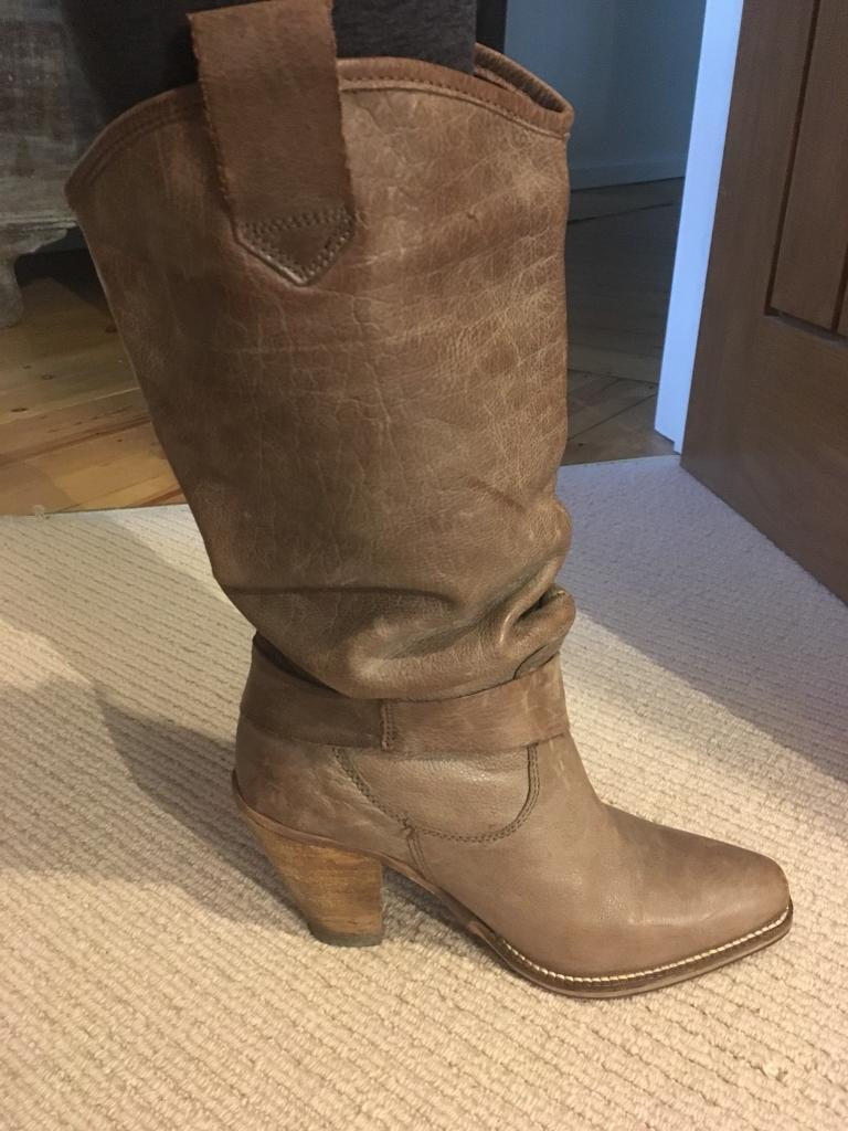 Size 6 -beautiful light brown leather boots , lower leather