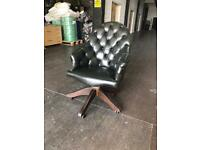 Green leather Chesterfield directors chair CAN DELIVER UK