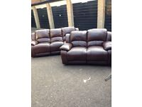 Harvey's Crew 3 +2 seater leather recling sofa set ex display Model