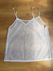 Sheer White Vest Top