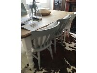 6 antique pine dining chairs painted