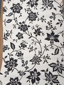 7 rolls of black/white flock wallpaper