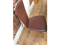 Six Faux Dark Brown Leather Dining Chairs with Chrome Legs