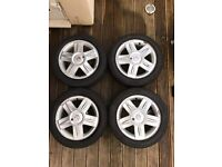 Full set of alloy wheels for Renault Clio Sport iMusic edition.