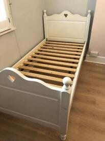 Aspace Belvoir children's single bed with heart detail and under bed guest trundle