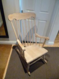 Solid wooden rocking chair, rustic / shabby chic