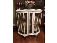 Shabby Chic Painted Deco Glass Cabinet Display
