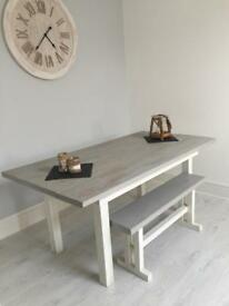 Dining table and bench