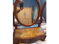 Table top solid oak tortoise shell mirror and draws
