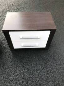 brown and cream gloss chest of drawers and 2 matching lockers