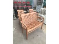 Teak Garden Bench & 2 Chairs