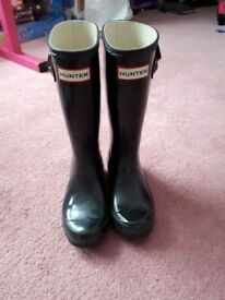 Kids black hunter wellies