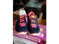 LADIES FLEX APPEAL SKETCHERS COLOUR NAVY AND NEON PINK NEW WITH TAGS SIZE UK 5
