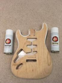 Left handed Guitar Mill USA strat body and nitro lacquer cans