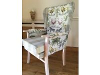 Reupholstered wing style chair