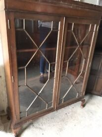 GENUINE VINTAGE GLAZED DISPLAY CASE CURIO UNIT VERY NICE PIECE AS IS OR UP-CYCLE PROJECT, DELIVERY