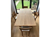 Laura Ashley Oak Dining Table and 4 Chairs- Extendable