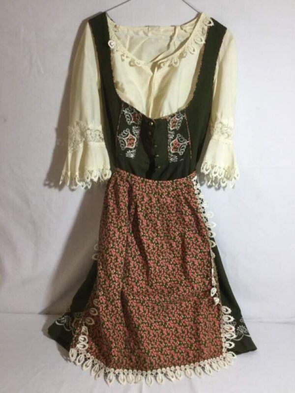 Vtg Complete Dirndl Dress Blouse Apron Octoberfest 44 L 10 Green Embroidered
