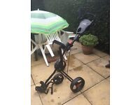 Masters Golf Trolly, used once , mint condition , 3 wheel very light , also umbrella holder as well