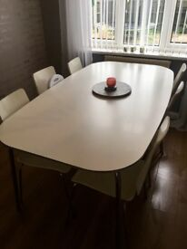 Large white dining table
