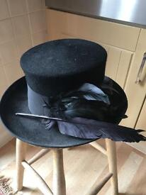 Hat Peter Bettley Black Top Hat & Feathers