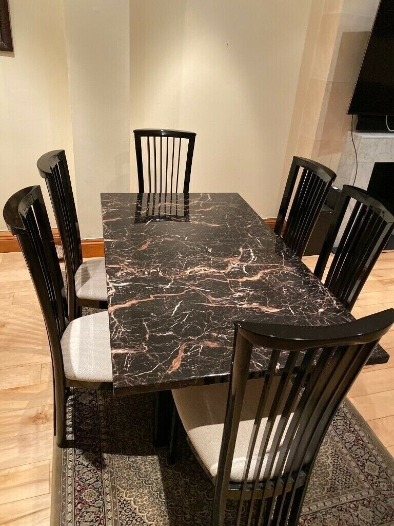 scs marble dining table  6 chairs  in finchley london